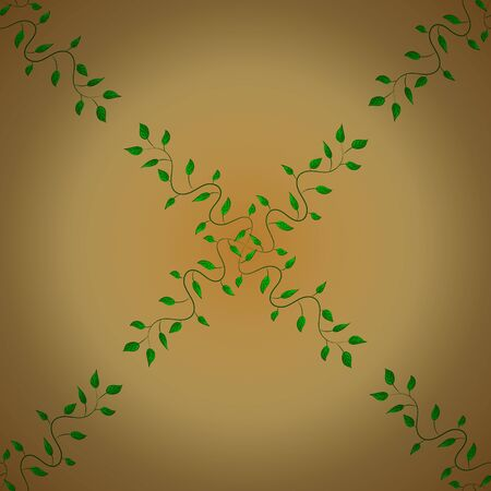 Seamless graphic design with amazing leaves. Vector illustration. Beautiful leaves on orange, yellow and beige colors. Green leaves background.