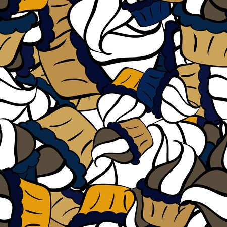 Seamless pattern Nice fabric pattern.  Black, white and yellow on colors. Doodles pattern. Cute background. It can be used on sketch, wrapping boxes, mug prints, baby apparels etc.