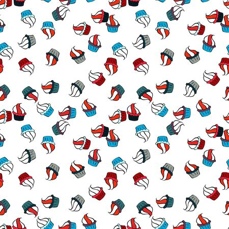 Seamless pattern cake. Bright birthday pattern on black, blue and white. Vector illustration. For food poster design.