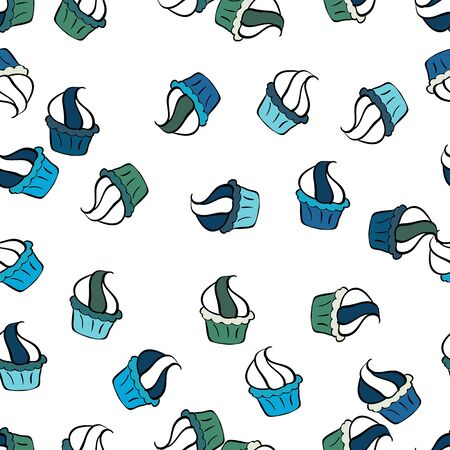 Cupcakes seamless pattern with watercolor on black, blue and white background. Vector illustration. Sweets background design. Hand drawn doodle illustration with pastry. Vettoriali