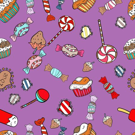 For food poster design.  pattern cake. Bright birthday pattern on white, black and violet.
