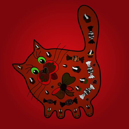 Design on red, brown and black colors. Sketch of funny cats. Pet animal. Vector sketch. Cute background for wrappers and sketch, design of fabric, paper. Cute hand drawn doodle kittens. Çizim