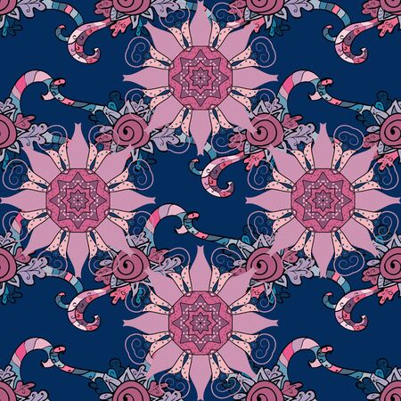 Vector outline on pink and blue colors. Anti-stress therapy pattern. Decorative round ornament. Yoga logo, background for meditation poster. Weave design element. Unusual flower shape oriental line. Иллюстрация