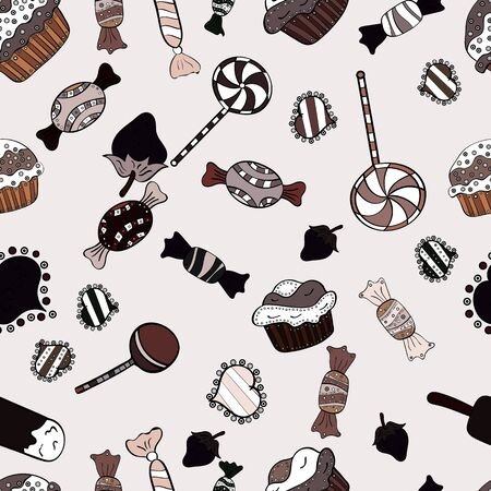 Pattern on brown, neutral and black. Seamless of Variety Muffins, Poppy seed, Chocolate Chip, Pumpkin Cream, Chocolate and Delicious Breakfast or Dessert Muffins. Vector illustration.