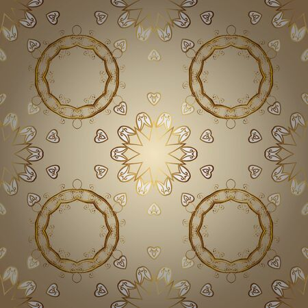Classic vintage background. Seamless classic vector golden pattern. Golden pattern on beige and white colors with golden elements. Traditional orient ornament. Ilustração