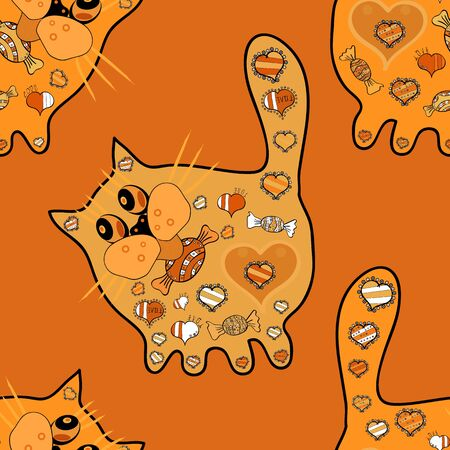 Vector. Design for spiritual relaxation for adults. Hand drawn cat with abstract patterns on yellow, orange and black background.  Seamless zen cats. Unification. Zen art.