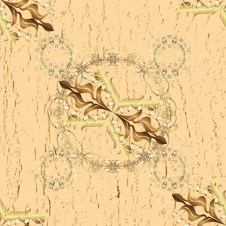 Gold floral ornament in baroque style. Golden element on a beige and brown colors. Golden floral seamless pattern. Damask background.