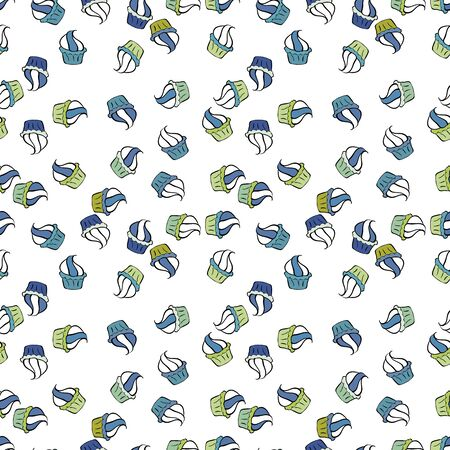 Cupcake pattern. Nice birthday pattern on black, blue and white. Seamless of hand drawn vintage cute cupcakes and muffins. Vector illustration. Illustration