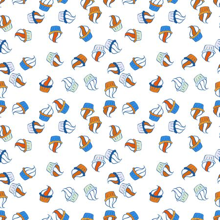 Cupcake seamless pattern. Vector illustration. Cute birthday background on blue, white and orange. Wrapping paper. Sweets background design.