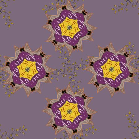 Fabric pattern texture daisy flowers detail. Flowers on purple, beige and neutral colors. Иллюстрация