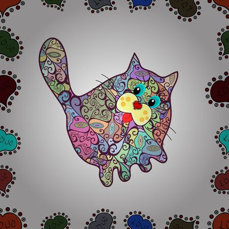 A sleeping cat surrounded by flowers. Anti stress for adults and children. Coloring book. The work was done in manual mode. Vector. Seamless pattern. Draught in neutral, white, purple colors.