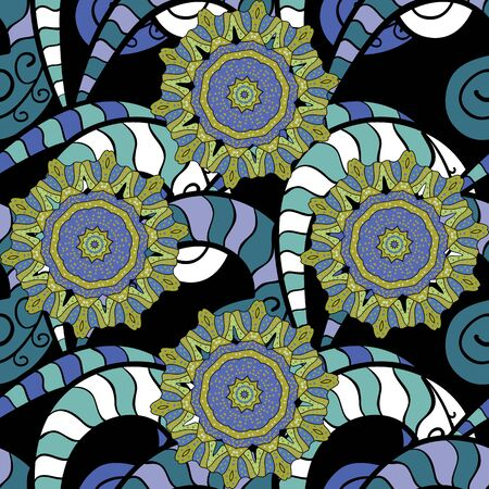 Vector round mandala in childish style. Ornamental doodle yellow, black and blue colors. Vector nature seamless pattern with abstract ornament. Ilustração