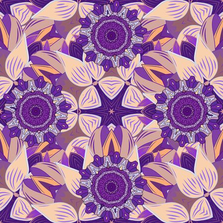 Beautiful watercolor flowers, bright painting inspibeige, violet and neutral flower print seamless background. Vector. Иллюстрация