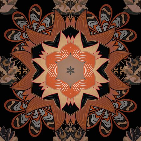 Vector hand-drawn mandala, colored abstract pattern on a beige, orange and black colors.