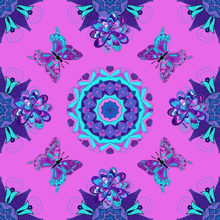 Fashion nice fabric design. Abstract seamless background. Illustration on violet, blue and purple colors. Vector butterflies pattern.