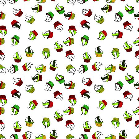 Muffin. Cupcake pattern background. Seamless.Cupcake vector pattern. Vector illustration. Happy birthday cupcake background in white and green.
