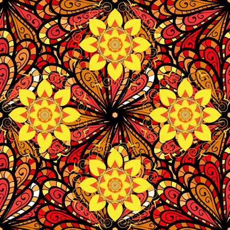 Floral seamless pattern background. Flowers on orange, yellow and black colors. Flower painting vector for t shirt printing. Ilustração