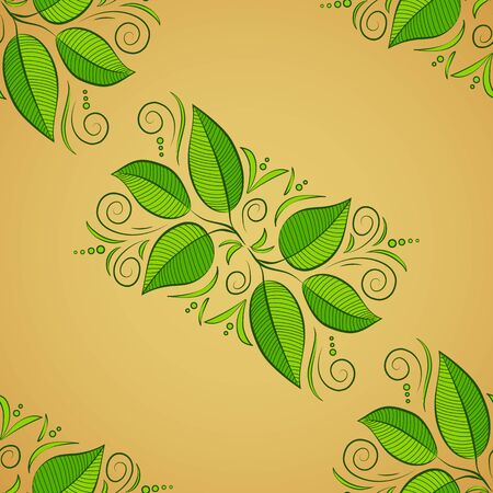 Painted tropical exotic leaves abstract colors in a cartoon style. Seamless vector sketch pattern on a beige, yellow and green background. Illustration