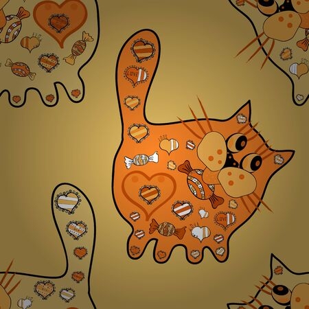 Illustration in black, orange and yellow colors. Seamless Drawing  cat for coloring page, shirt design effect,  tattoo and decoration. Vector cat. Doodle, sketch, scribble. Illustration