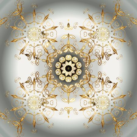Vector golden floral ornament brocade textile and glass pattern. Neutral and gray colors with golden elements. Gold metal with floral pattern. Seamless golden pattern.