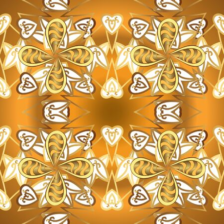 Hand-drawn colored mandala on a brown and yellow colors. Vector abstract pattern.