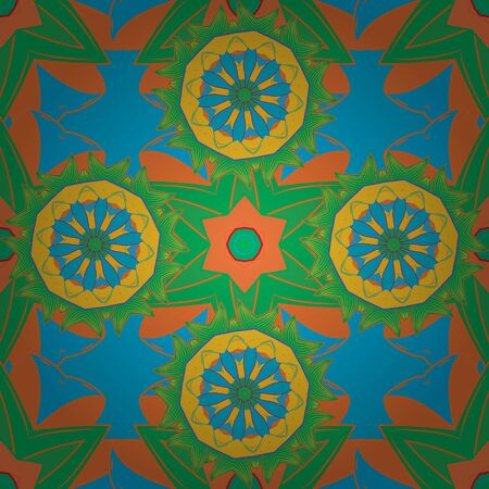 Seamless Floral Pattern in Vector illustration. Vector illustration. On green, orange and blue colors. Beautiful fabric pattern.