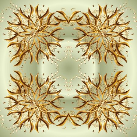 Vector golden pattern. Oriental style arabesques. Beige and neutral colors with golden elements. Golden textured curls. Illustration