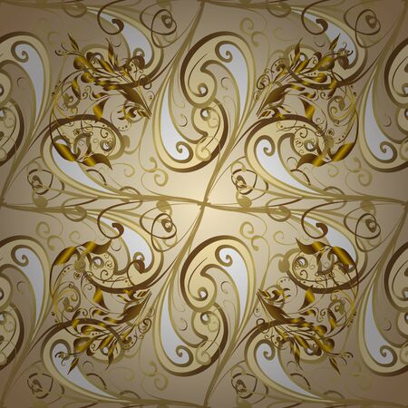 For your design, sketch. Golden seamless pattern on brown and beige colors with golden floral elements. Vector geometric background. Golden color seamless illustration.