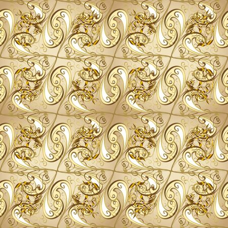 Traditional orient ornament. Classic vintage background. Seamless classic vector beige and brown and golden pattern.