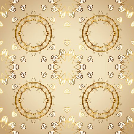 Seamless pattern on beige and white colors with golden elements. Vector illustration. Seamless classic vector golden pattern. Traditional orient ornament. Classic vintage background.