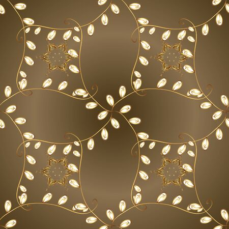 Ornate vector decoration. Luxury, royal and Victorian concept. Golden element on brown and beige colors. Vintage baroque floral seamless pattern in gold over brown and beige. Illustration