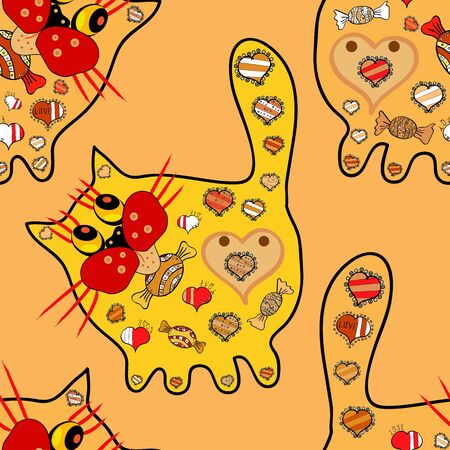 Vector nice page. Pattern at black, yellow and red colours. Template greeting card, invitation and advertising banner, brochure. Seamless. Colorful cat on pop art style.