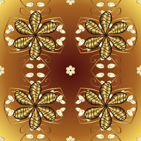 Seamless classic vector golden pattern. Classic vintage background. Golden pattern on brown and yellow colors with golden elements. Traditional orient ornament.