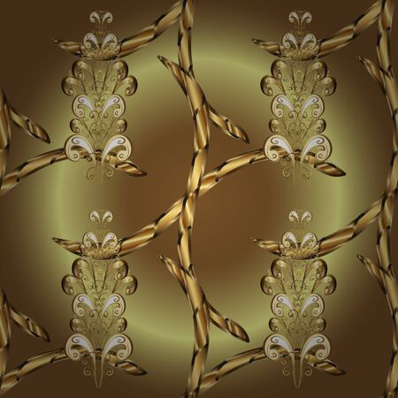 Vector golden pattern on neutral and brown colors. Golden snowflake simple seamless pattern. Abstract sketch, wrapping decoration. Symbol of winter, Merry Christmas holiday, Happy New Year 2019.