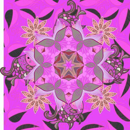 Gentle, spring floral on neutral, violet and pink colors. illustration. floral illustration in vintage style. Tender pattern with flowers.