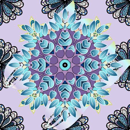 Intricate floral design element for sketch, gift paper, fabric print, furniture. Boho abstract seamless pattern. Unusual vector ornament decoration. Colorful on a blue, black and neutral colors.