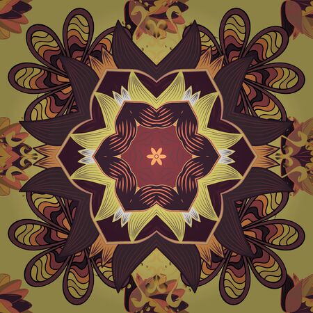 Intricate colored Arabesque with on a purple, brown and yellow colors. Vector abstract stylized colored mandala. Vectores