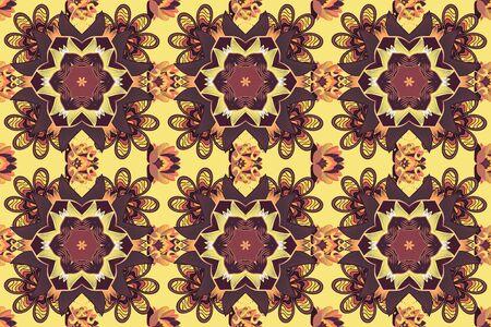 Raster gradient premium logotype. Mandala logo. Business identity concept for bio, eco company, yoga or spa salon. Flower on purple, yellow and brown. Stock Photo