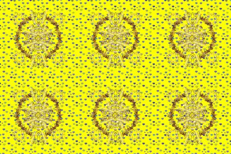 Raster illustration. Seamless. Patterned carpet with a border frame. Colorful oriental mosaic with a traditional flower motif and geometric ornament. Illustration on neutral, green and yellow colors.