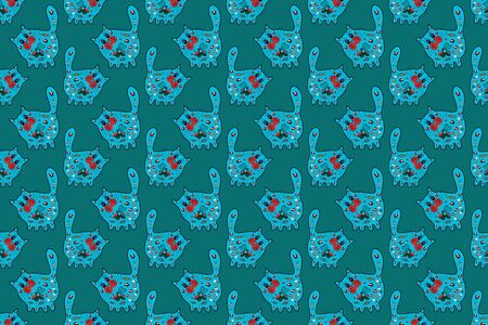 Cat in blue, black and red colors. Cats with hearts. Seamless pattern. Background for Fabric, Textile. Cute and nice art. Hand draw doodle with patterns and zentagle elements for coloring book. Raster