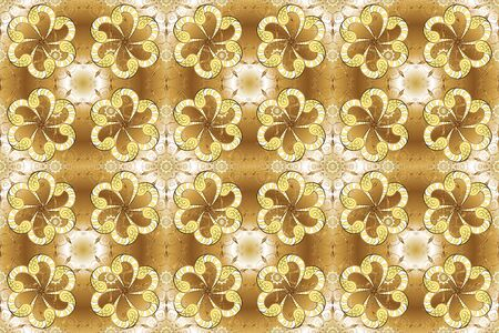 Royal retro background. Raster. Gold template. Design vintage for card, wallpaper, wrapping, textile. Floral classic texture. Pattern golden elements.