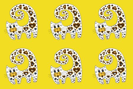Figure in brown, yellow and white colors. Pictures of cute girly kittens with lettering. Sketch pattern. Raster illustration. Perfect for surface textures, wallpapers, web page backgrounds, textile.