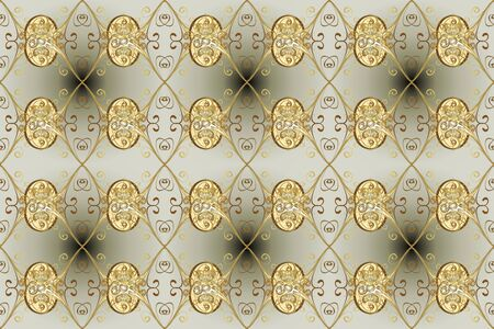 Gold template. Royal retro on gray and neutral colors. Raster illustration. Floral classic texture. Design vintage for card, wallpaper, wrapping, textile. Seamless pattern golden elements. Stock fotó