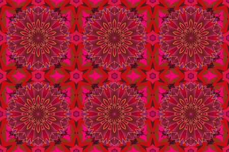 Floral seamless pattern background. Flowers on red, brown and magenta colors. Flower painting raster for t shirt printing.