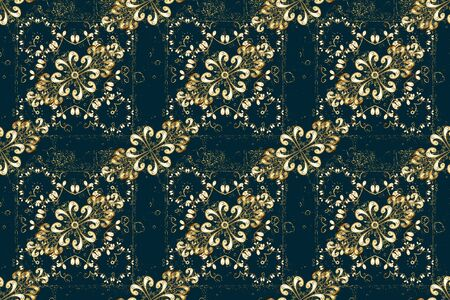 Gold template. Design vintage for card, wallpaper, wrapping, textile. Seamless pattern golden elements. Floral classic texture. Royal retro on blue and beige colors. Raster illustration.