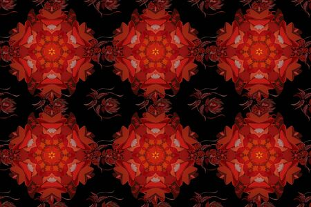 Vintage decorative ornament on orange, black and red colors. Orient, symmetry lace, fabric, wallpaper. Raster East, Islam, Indian, motif. Colored mandala pattern, Arabic background. Ethnic texture. Stock fotó