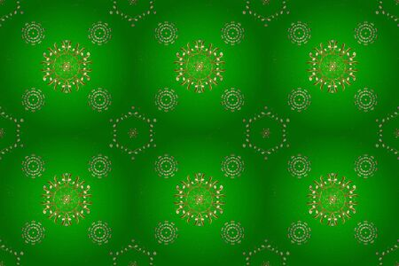 Vintage seamless pattern on a brown and green colors with golden elements. Christmas 2019, snowflake, new year.