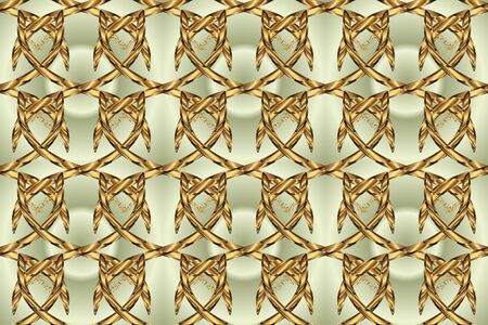 Seamless raster background. Golden elements on neutral and beige colors. Wallpaper baroque, damask. Floral pattern. Stylish graphic pattern. Stock fotó