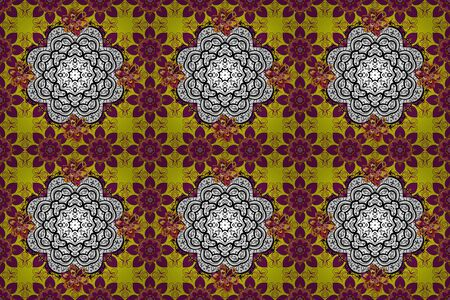 Seamless pattern with abstract ornament. Raster Hand drawn floral purple, white and yellow colors.