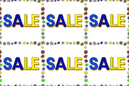 Raster. Sale lettering in blue, white and yellow colors. Seamless pattern. Collection with style backgrounds for your project, commercial banner, flayer, animation, advertisement, sale, frame.